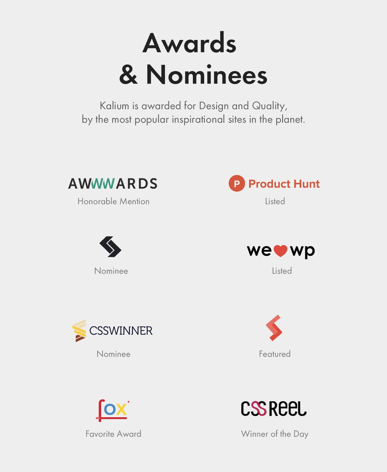 Awards and Nominees awards and nominees - Kalium – Creative Theme for Professionals