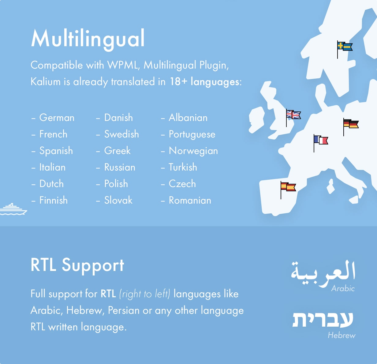 Kalium theme supports WPML for multilingual websites and RTL (right-to left) languages