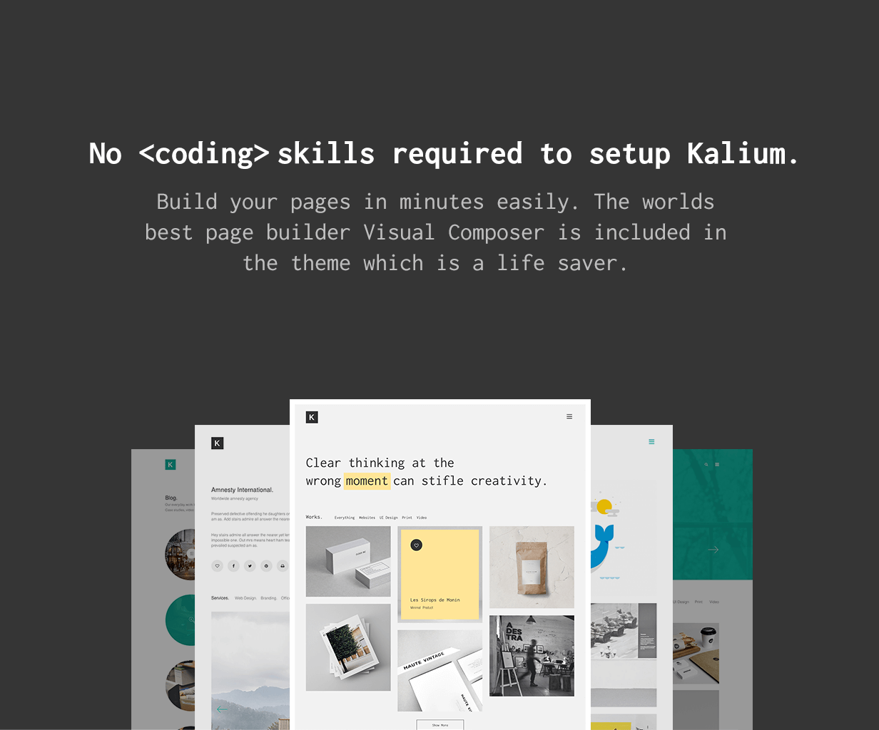 No Coding Skills Required no coding skills - Kalium – Creative Theme for Professionals
