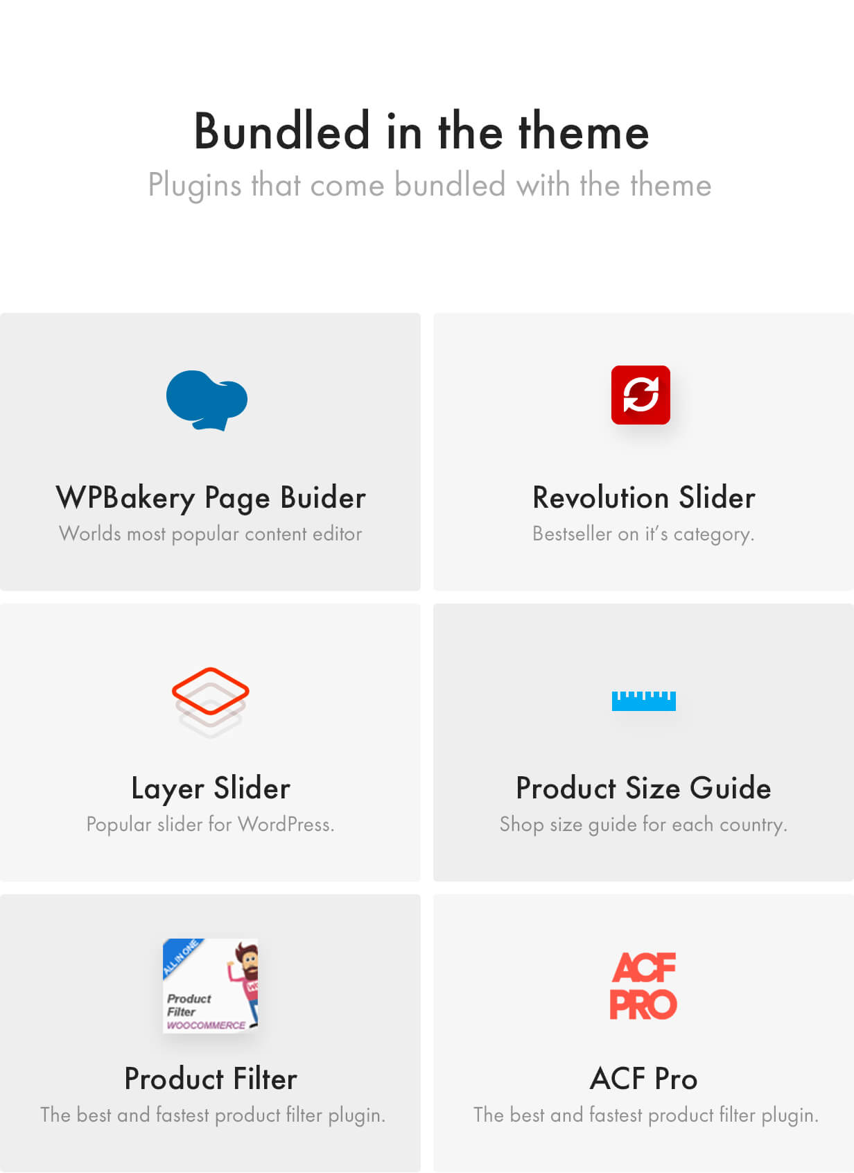 Premium Plugins included, WPBakery Page Builder, Revolution Slider, Layer Slider, Avada, Advanced Custom Fields PRO, Product Size Guide, WooCommerce Size Guide