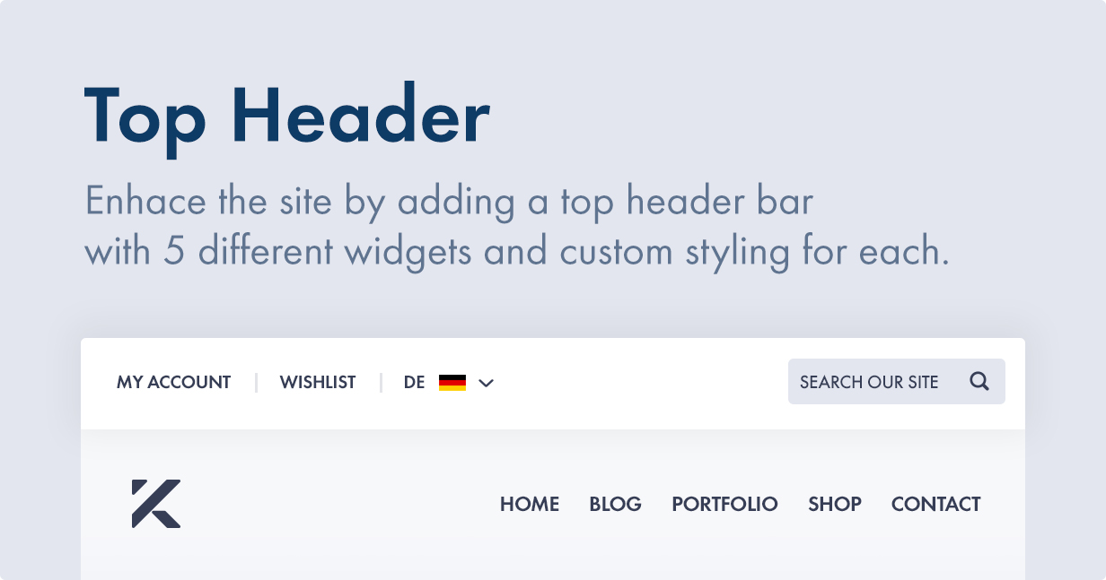 Add a top bar before the header with two types of top bar